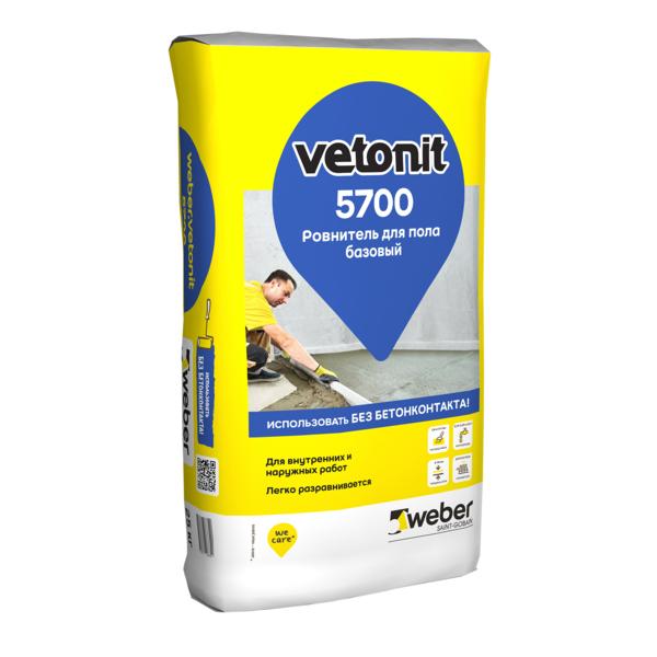 Ровнитель для пола Вебер Ветонит 5700 базовый на цементном вяжущем 25к - купить в Волхове, отзывы. ТД «Вимос»